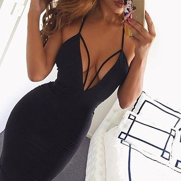 Summer Fashion Women Sexy Deep V Collar Pure Color Bandage Tight Sling Dress Black