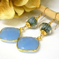 Blue Chalcedony Earrings Lampwork Glass Gold Long Dangle Handmade