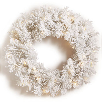 Holiday Lane Light-Up Snowy White Artificial Wreath, Created for Macy's | macys.com