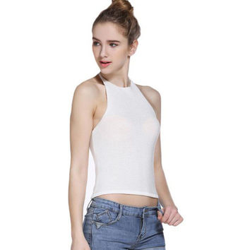Pink Red Black white crop top  Fashion women Backless halter top cropped feminino cropped women crop tops   GS