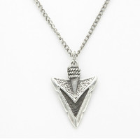 "Sterling Silver Arrowhead Pendant, Oxidized Necklace, 20"" Chain, Silver Jewelry"