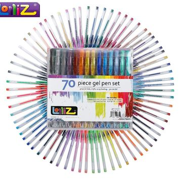 LolliZ 70pcs Gel Pen Set W/Bonus 12 Colors Refills Metallic Pastel Neon Glitter Sketch Drawing Color Pen School Stationery