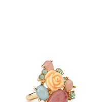 FOREVER 21 Clustered Cocktail Ring Peach/Gold