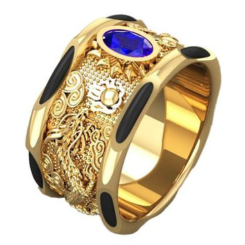 Sapphire Dragon Ring Solid Gold Men's Elephant Hair Dragon Ring Big Heavy Ring Unique Engagement Ring Wedding Ring for Man
