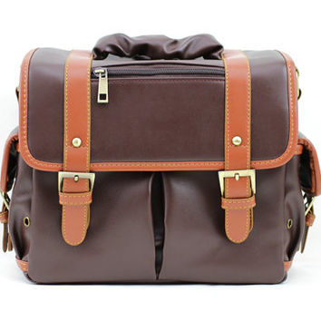 C113 Dark Brown PU Leather Camera Bag w/ Shoulder Strap