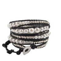 Shell Pearls Silver Plated Nuggets and Black Leather Jewelry | Chan Luu Style Wrap Bracelet