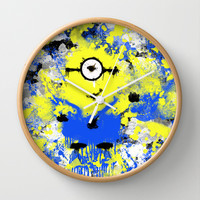Splatter Painted Minion  Wall Clock by Trinity Bennett