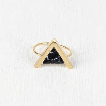 Triangle Pyramid Gemstone Ring