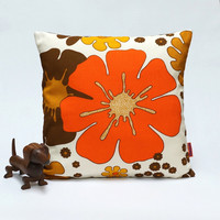 Orange Floral Retro Pillow Cover  40x40 - 16x16 - mid century decorative throw pillow - Handmade with love from vintage fabrics