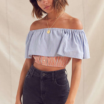 Urban Renewal Remade Off-The-Shoulder Striped Cropped Top | Urban Outfitters