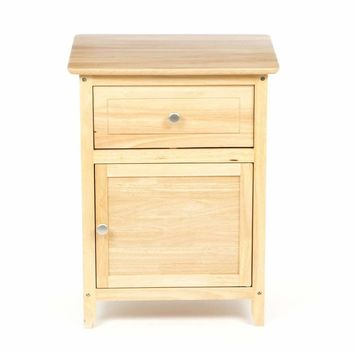 Natural Wood Finish 1-Drawer Bedside Table Cabinet Nightstand