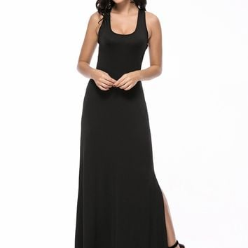 Streetstyle  Casual Scoop Neck Racerback Side Slit Back Hole Solid Maxi Dress