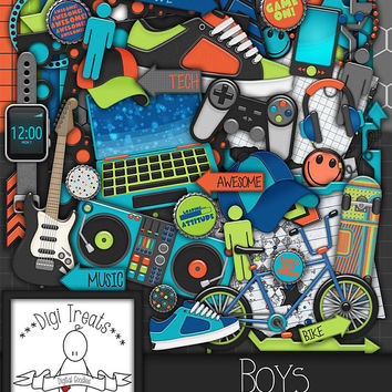 Boys Digital Scrapbook Kit.  Boys, Teens Themed Scrapbook Kit, Digital Papers, Clip Art, Word Tags and More. **INSTANT DOWNLOAD***