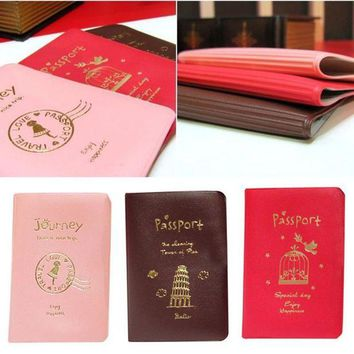 DCCKU62 Hot New Women Passport Cover World Travel PU Leather Passport Holder Passports Cute Girl Passport Cases carteras mujer