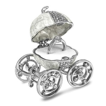 Bejeweled Crystal Silver Tone Moving Wheels Pumpkin Coach Trinket Ring Box