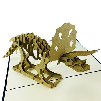 Wow Triceratops Dinosaur - 3D Pop Up Greeting Card for All Occasions Birthday, Love, Congratulations, Good luck, Thank you, Anniversary, Father day, Cool Fun Kids,Jurassic - Premium Paper, Handcrafted