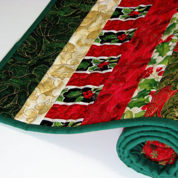Quilted Table Runner , Christmas Prints , Red and Green , Scrappy Strips , Reversible