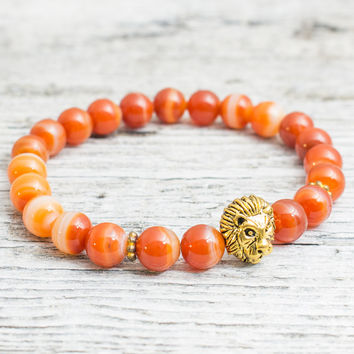 Orange agate stone beaded gold Lion head stretchy bracelet, yoga bracelet, mens bracelet, womens bracelet