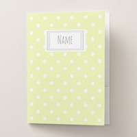 Yellow and White Polka Dot Pattern Name/Subject Pocket Folder