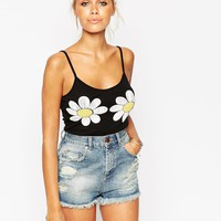 ASOS Body In Rib With Daisy Print Bust at asos.com