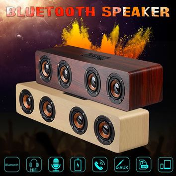 Multifunctional Wood Sound Grain Speaker 12W Portable Wireless Bluetooth TF Card AUX TV Home Built-in 3000mA Rechargeable Batter
