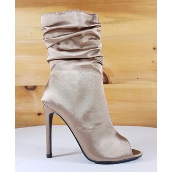 So Me Sevina Taupe Satin Scrunch Top High Heel Ankle Boot