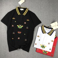 """Gucci"" Unisex Fashion Casual Insect Embroidery Multicolor Stripe Lapel Short Sleeve T-shirt Couple Polo Shirt Tops"