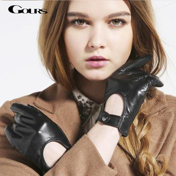 Gours Women's Winter Genuine Leather Gloves 2017 New Fashion Brand Ladies Black Unlined Driving Gloves Goatskin Mittens GSL010