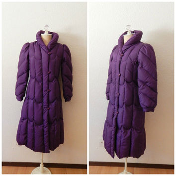 Vintage 80s Purple Puffer Trench Coat Duck Down Quilted Jacket Barb Style XSmall