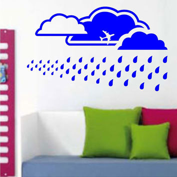 Extra Large Sky Background with Clouds and Rain Vinyl Wall Decal Sticker Art Graphic