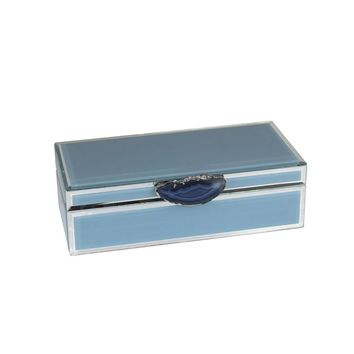 Rectangular Decorative Wood And Glass Storage Box With Agate, Blue By Sagebrook Home