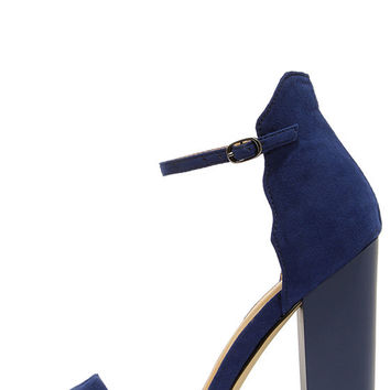 Chinese Laundry Sea Breeze Bright Navy Blue Ankle Strap Heels