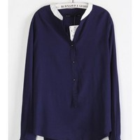 Women New Style Fashion V Neckline Long Sleeve Casual Blue Chiffon Shirt Top S/M/L@II0087bl $14.59 only in eFexcity.com.