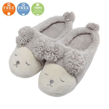 MiYang Warm Indoor Slippers For Women Fleece Plush Bedroom House Shoes Non Slip Winter Boots