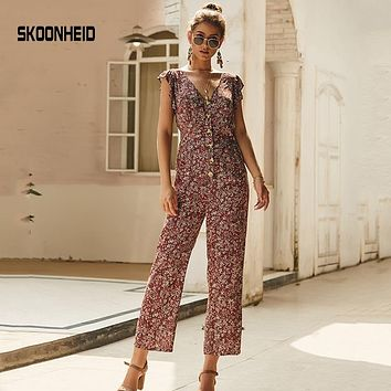 SKOONHEID Chiffon Floral Jumpsuits Women Long Pants V Neck Wide Leg Pants Rompers Loose Holiday Bohemian Summer Print Overalls