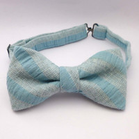 Mens bow tie - striped blue pre tied adjustable bow tie - cotton bowties rustic - bow ties for men