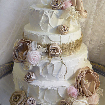 Burlap, Satin and Chiffon Cake Topper Flowers, set of 20 flowers, Colors are champagne, blush, pink, ivory and brown. Ready to Ship!