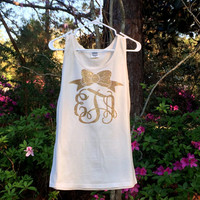 Comfort Colors Glitter Monogram Tank Top, Monogrammed Tank, Anchor, Bow, Short sleeve Monogram Tshirt