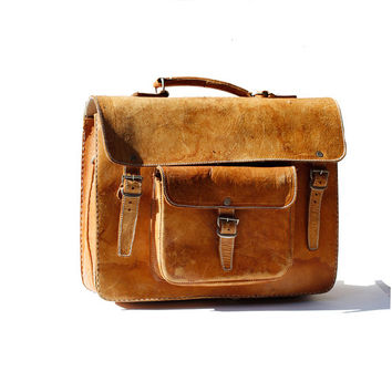 Tan Leather Briefcase Bag