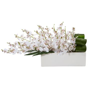 Artificial Flowers -Dancing Lady Orchid White in Rectangular Ceramic