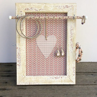 Jewelry organizer, Heart frame, girl's room frame, pink & white timber frame, earring display, earring holder, jewellery stand