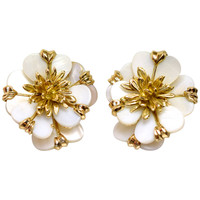 Cartier Paris Ivory Shell Gold Flower Earrings
