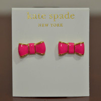 Kate Spade Bow Stud Earrings New with Tag Gold, Coral Enamel