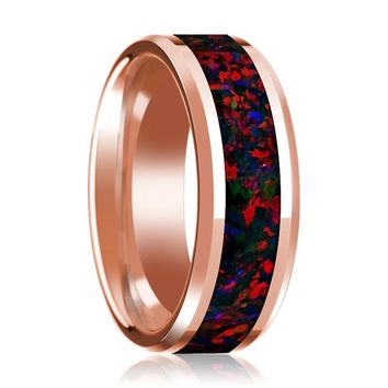 Mens Wedding Band 14K Rose Gold Inlaid with Black and Red Opal Polished Beveled Edge