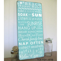 Beach Rules with Seashore Bunting -Vintage Style Typography Word Art Sign