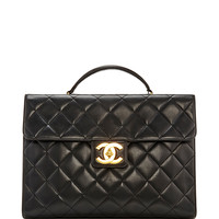 Chanel Black Lamb Quilted Briefcase