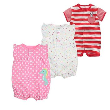 Summer Baby Girls Rompers Fashion Short Sleeve Baby Boy Clothing Sets Roupas Clothes Newborn Baby Clothes Infant Jumpsuits