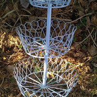 Vintage Victorian Three Tier Wire Plant Stand, French Blue, Shabby Garden, Rustic Farmhouse