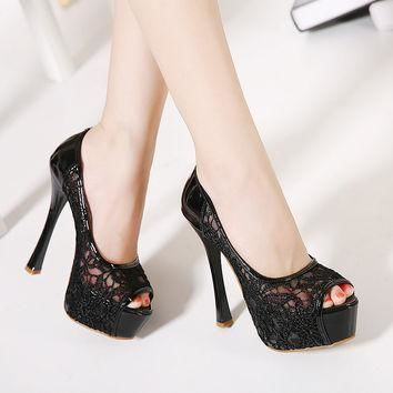 New Sexy Lace 14CM High Heels Shoes Women Open Toe Cutouts Party Shoes Woman Fashion P