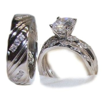 His & Hers 3 Piece Wedding Engagement Ring Set Sterling Silver